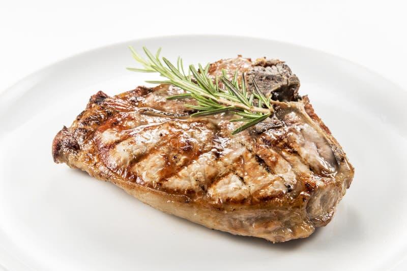 Piec na grillu kość kotlecik wieprzowina zdjęcia stock