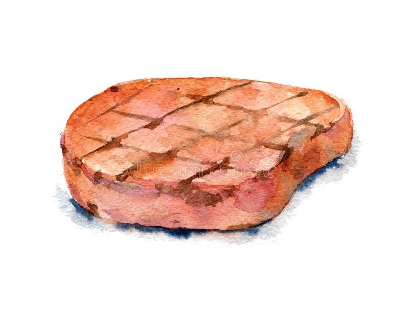 Piec na grillu kotlecik Akwareli jedzenia ilustracja ilustracji
