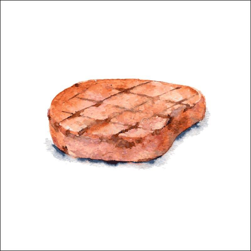 Piec na grillu kotlecik Akwareli jedzenia ilustracja wektor ilustracja wektor
