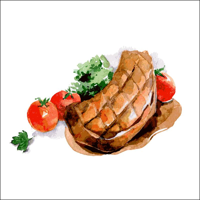 Piec na grillu kotlecik z pomidorami Akwareli jedzenia ilustracja wektor royalty ilustracja