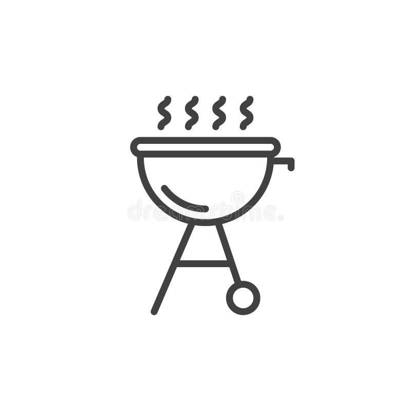 Piec na grillu kreskową ikonę, konturu wektoru znak, liniowy stylowy piktogram odizolowywający na bielu ilustracji
