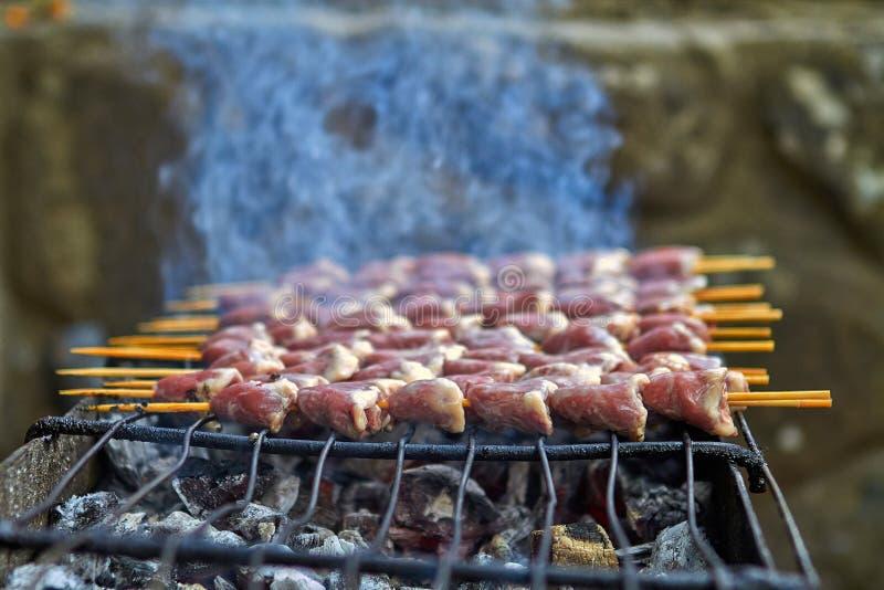 Piec na grillu kurczak na ciep?ej wio?nie zdjęcia royalty free