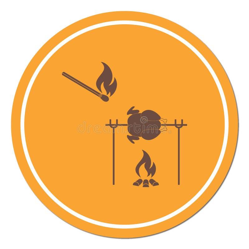 Piec na grillu kurczak ikona royalty ilustracja