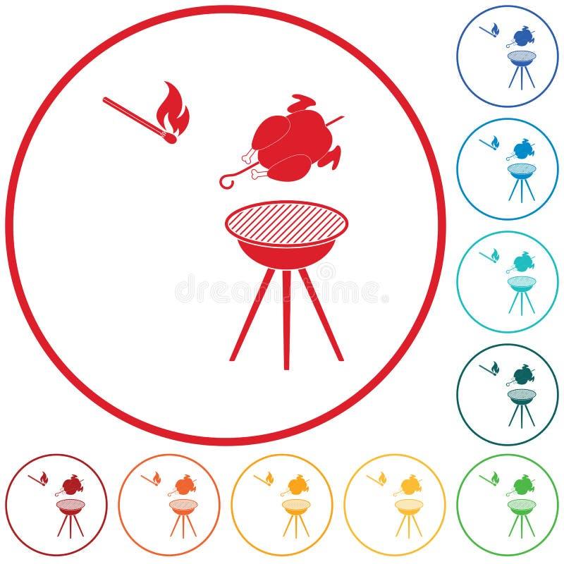 Piec na grillu kurczak ikona ilustracja wektor
