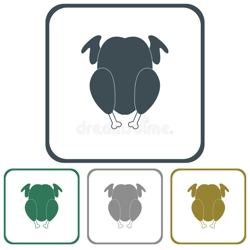 Piec na grillu kurczak ikona ilustracji