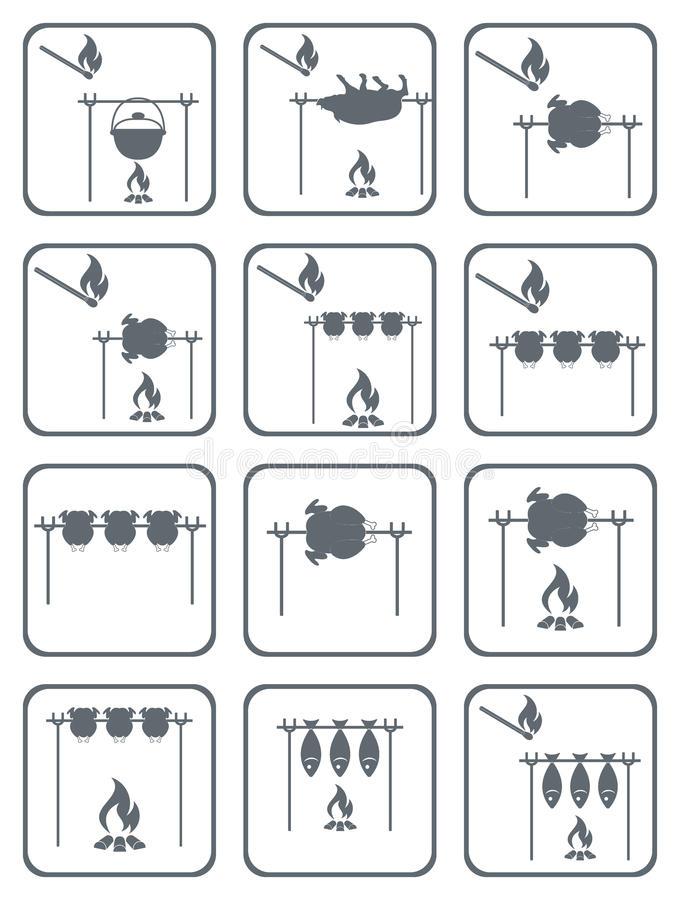 Piec na grillu kurczak kucharstwo na ognisko ikonach ilustracja wektor