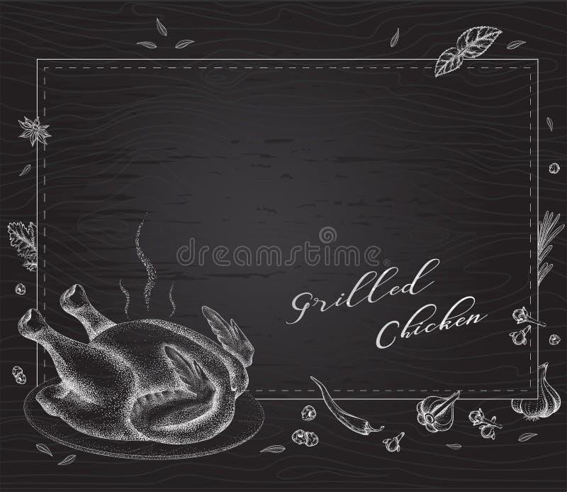 Piec na grillu kurczak na półmisku na czarnym tle royalty ilustracja