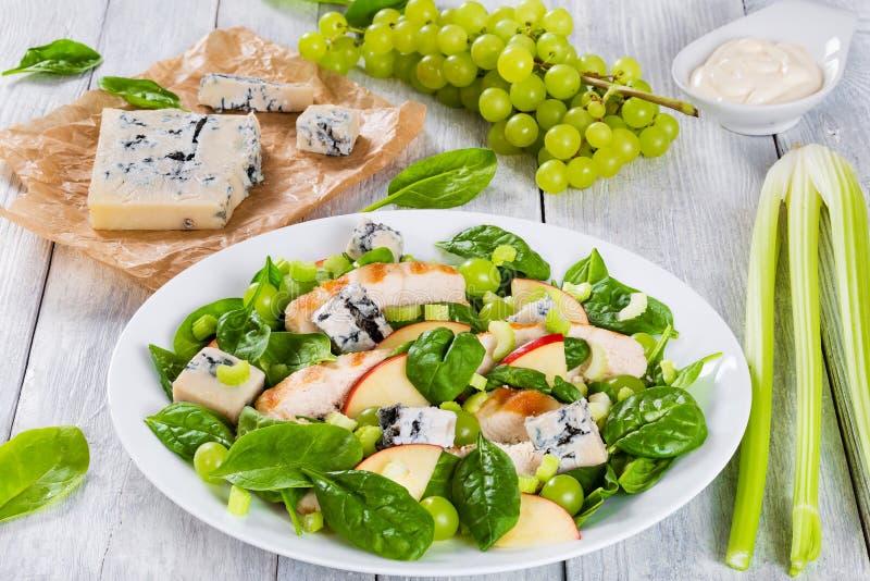 Piec na grillu kurczak, szpinak, jabłczani plasterki, Gorgonzola ser, winogrono zdjęcie stock