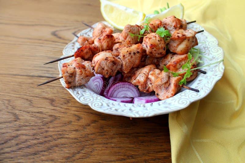 Piec na grillu kurczaka kebab zdjęcia stock