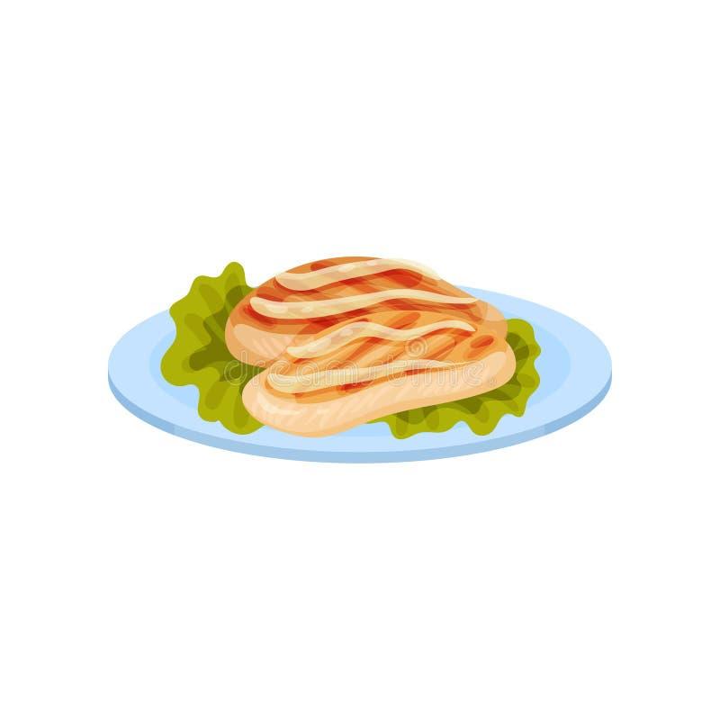 Piec na grillu kurczaka mięso słuzyć na talerzu, smakowitego drobiowego naczynia wektorowa ilustracja na białym tle ilustracji
