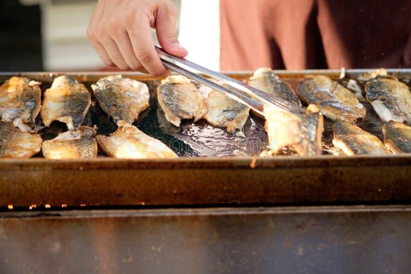 Piec na grillu makrela & x28; Saba& x29; stek zdjęcia stock