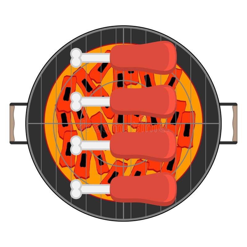 Piec na grillu mięso na kość odgórnym widoku na białym tle ilustracja wektor