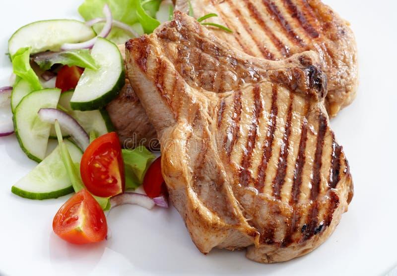 Piec na grillu mięsny stek obraz stock