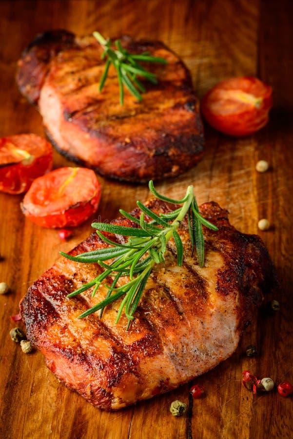 Piec na grillu mięsny stek zdjęcie stock