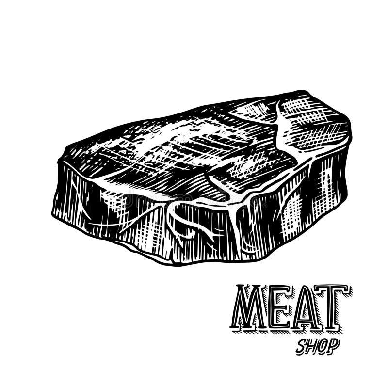 Piec na grillu mięsny stek, BBQ wieprzowina lub wołowina grill, Jedzenie w rocznika stylu Szablon dla restauracyjnego menu, emble ilustracja wektor