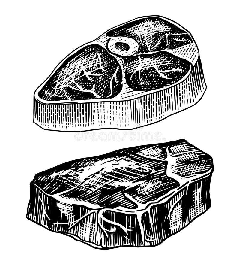 Piec na grillu mięsny stek, BBQ wieprzowina lub wołowina grill, Jedzenie w rocznika stylu Szablon dla restauracyjnego menu, emble royalty ilustracja