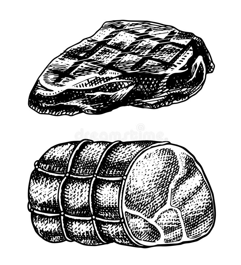 Piec na grillu mięsny stek, BBQ wieprzowina lub wołowina grill, Jedzenie w rocznika stylu Szablon dla restauracyjnego menu, emble ilustracji