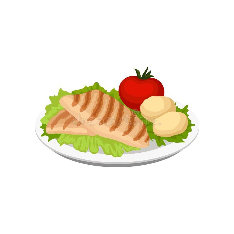 Piec na grillu mięso słuzyć z warzywami na talerzu, wektorowa ilustracja na białym tle ilustracja wektor