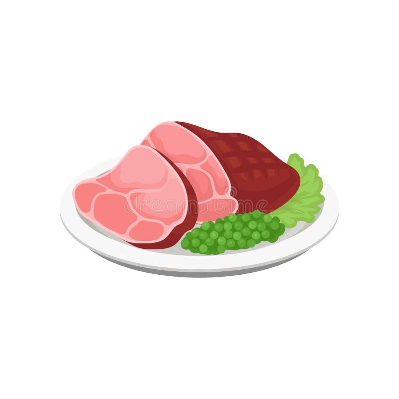 Piec na grillu mięso z zielonymi grochami i sałatą opuszcza na półkowej wektorowej ilustraci na białym tle ilustracja wektor