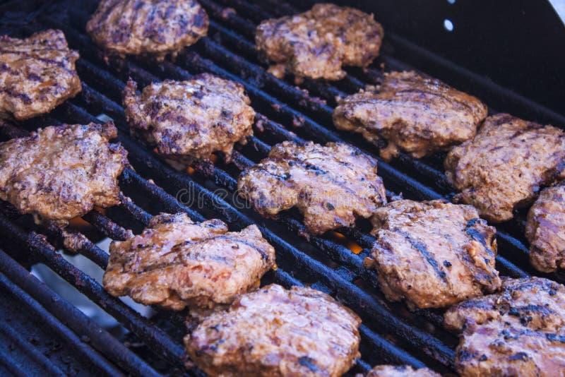 Piec na grillu minced mięsnych stki zdjęcie royalty free