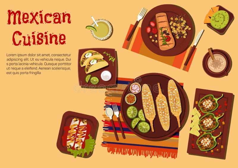 Piec na grillu naczynia meksykańska kuchnia dla pyknicznej ikony ilustracji