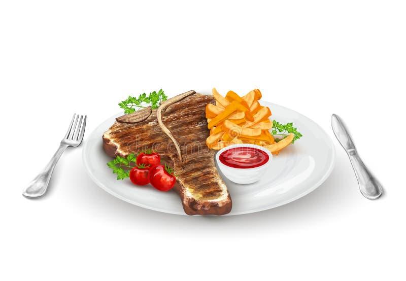 piec na grillu półkowy stek ilustracji