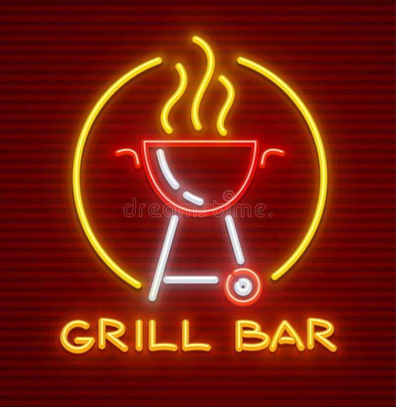Piec na grillu prętowego neonowego ikony wyposażenie dla bbq pinkinu royalty ilustracja