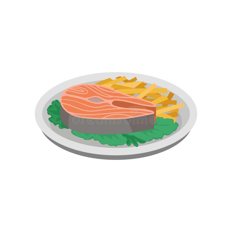Piec na grillu ryba, makaronu i zieleni sałaty liście na talerzu, smaczne statku Kulinarny temat Isometric wektorowy element dla  ilustracji