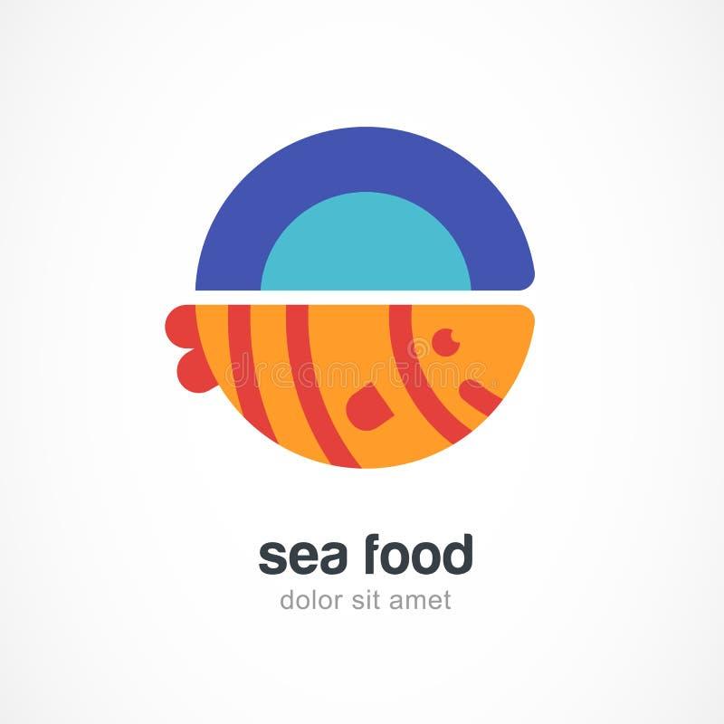 Piec na grillu ryba na talerzu, płaska ilustracja Wektorowy loga projekta tem ilustracji