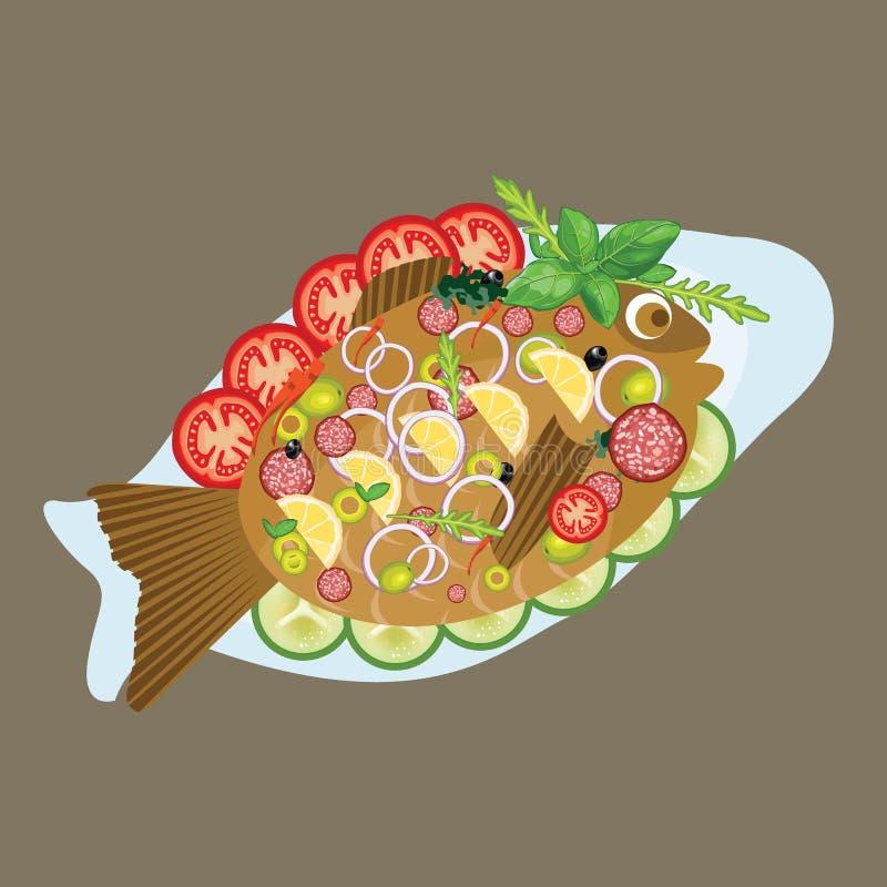 Piec na grillu ryba w półkowym dennego jedzenia lunchu obiadowym menu z warzywem royalty ilustracja