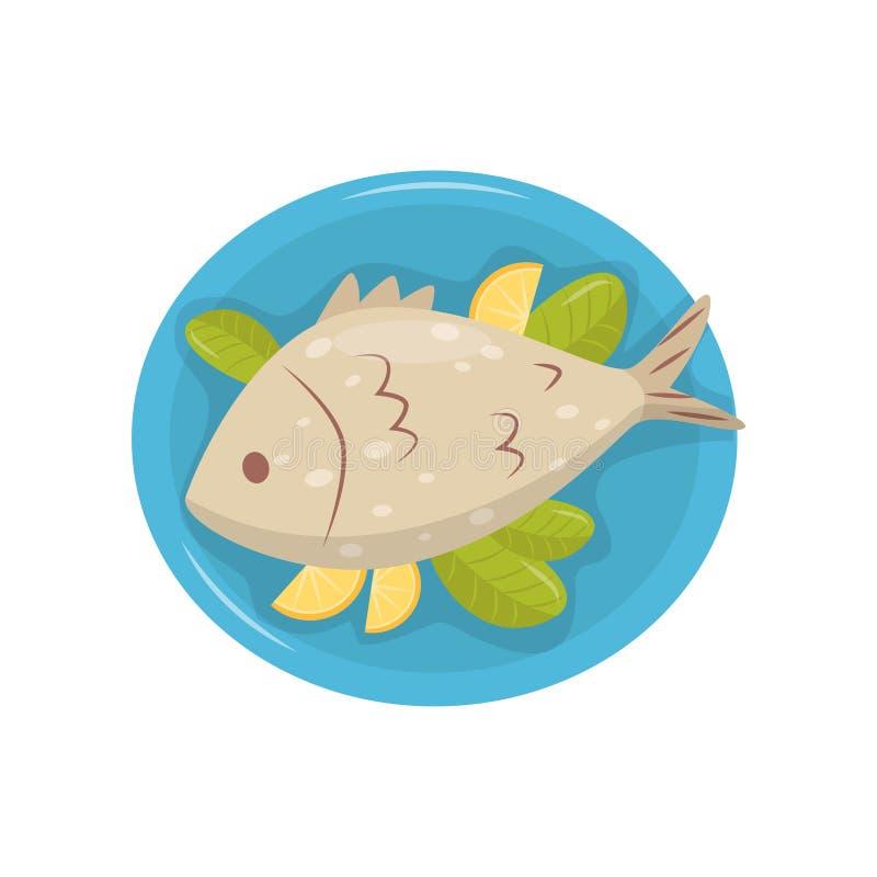 Piec na grillu ryba z kawałkami cytryna i zieleń opuszcza na błękita talerzu Tradycyjny naczynie Chorwacka kuchnia Kulinarny tema ilustracji