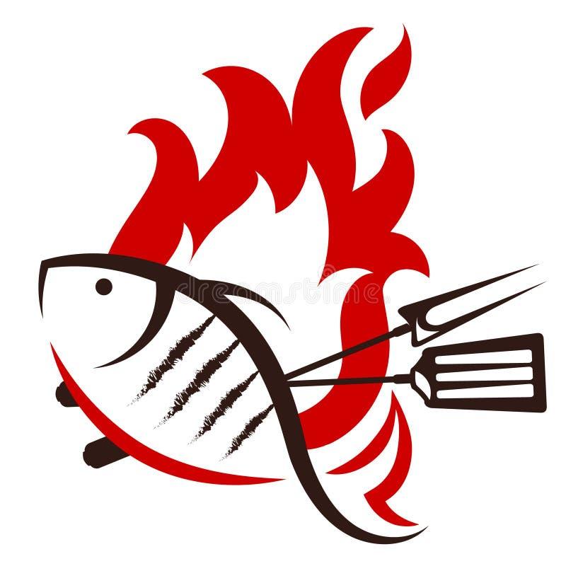 Piec na grillu rybia sylwetka ilustracji