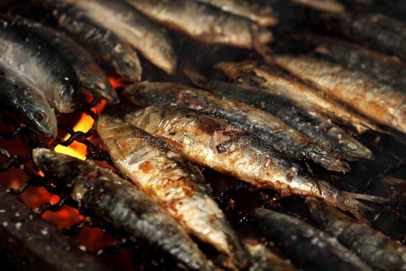 Piec na grillu sardynki zdjęcie stock