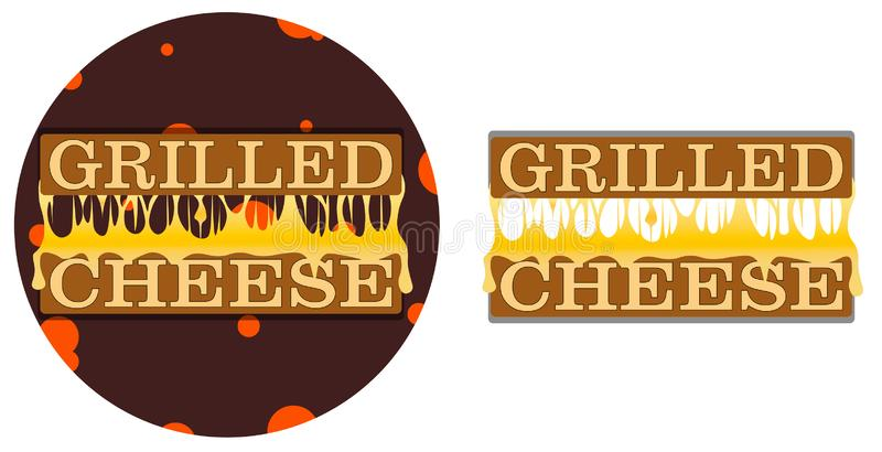 Piec na grillu ser na tle z rozciekłym serem między kawałkami chleba logo ilustracja wektor