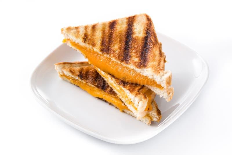 Piec na grillu Serowa kanapka odizolowywająca na białym tle zdjęcie royalty free