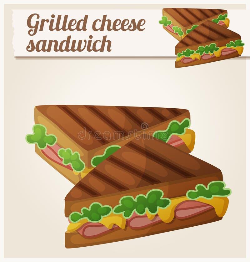 Piec na grillu Serowa kanapka Szczegółowa Wektorowa ikona ilustracji