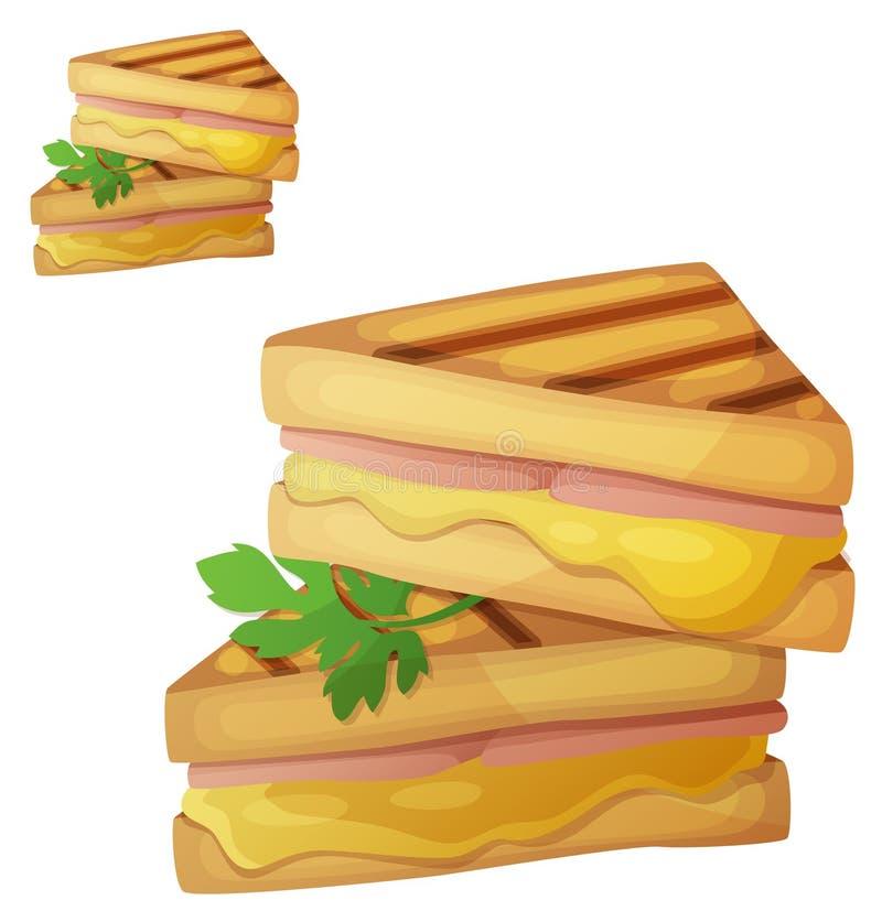Piec na grillu Serowa kanapka Szczegółowa wektorowa ikona odizolowywająca na białym tle royalty ilustracja