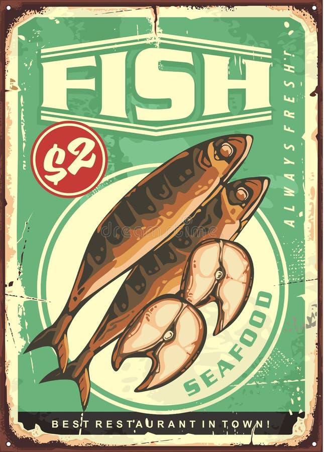Piec na grillu skumbriowy rybiego naczynia rocznika cyny znak ilustracja wektor