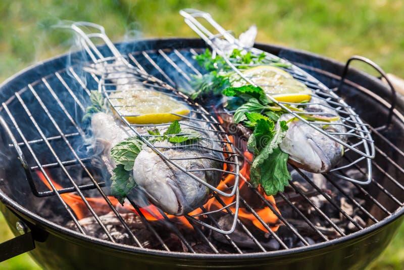 Piec na grillu smakowitej ryba z ziele i cytryną fotografia stock