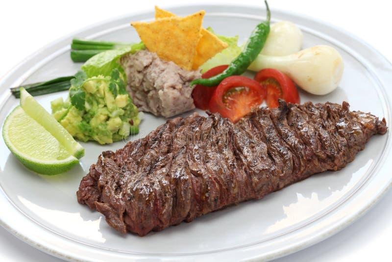 Piec na grillu spódnicowy stek, meksykańska kuchnia fotografia stock
