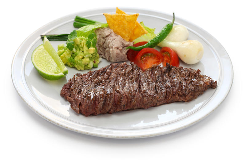 Piec na grillu spódnicowy stek, meksykańska kuchnia zdjęcia stock