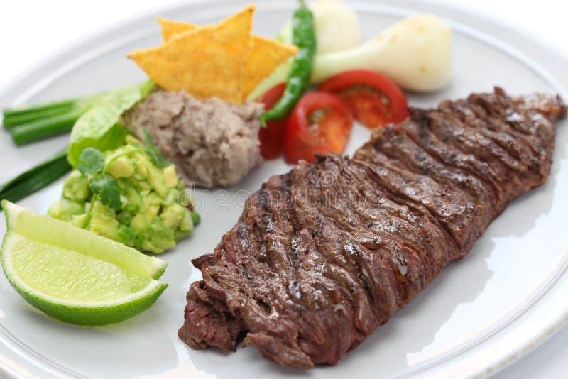 Piec na grillu spódnicowy stek, meksykańska kuchnia obrazy royalty free