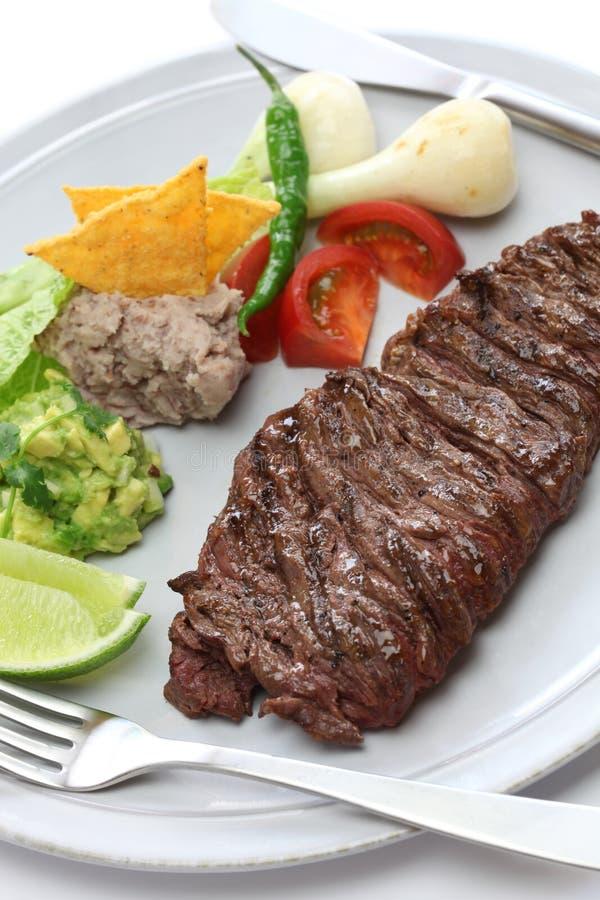 Piec na grillu spódnicowy stek, meksykańska kuchnia fotografia royalty free