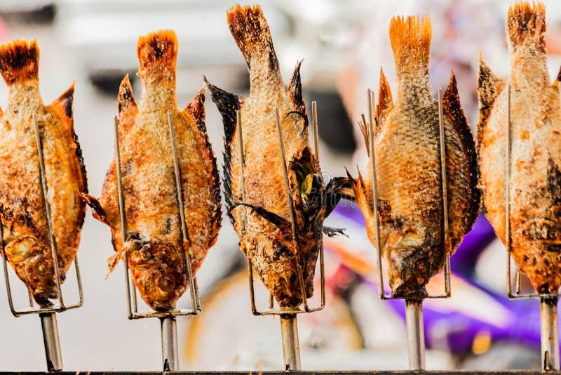 Piec na grillu Tilapia ryba z ziele, Zdrowy Azjatycki Lokalny jedzenie z Dobrym smakiem obrazy stock