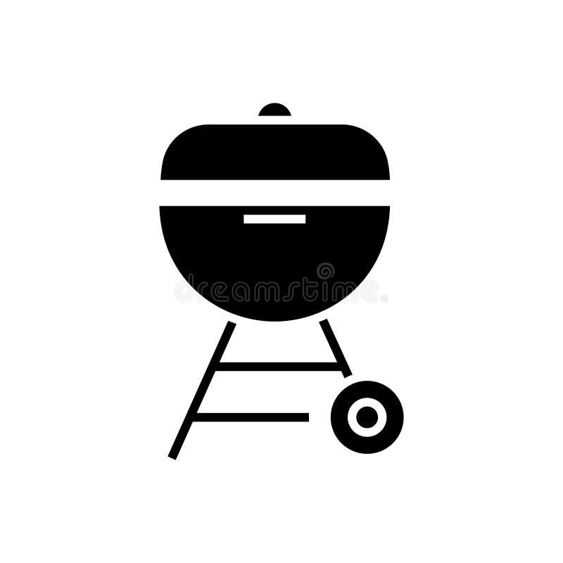 Piec na grillu węgiel drzewny ikonę, wektorowa ilustracja, czerń znak na odosobnionym tle royalty ilustracja