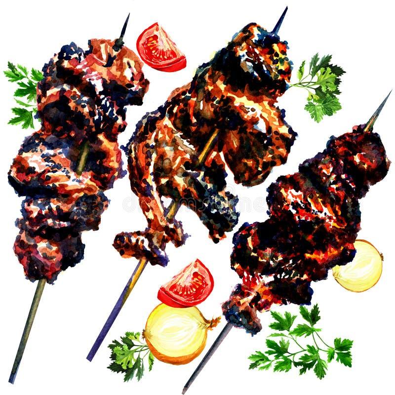 Piec na grillu warzywa i, akwarela ilustracja wektor