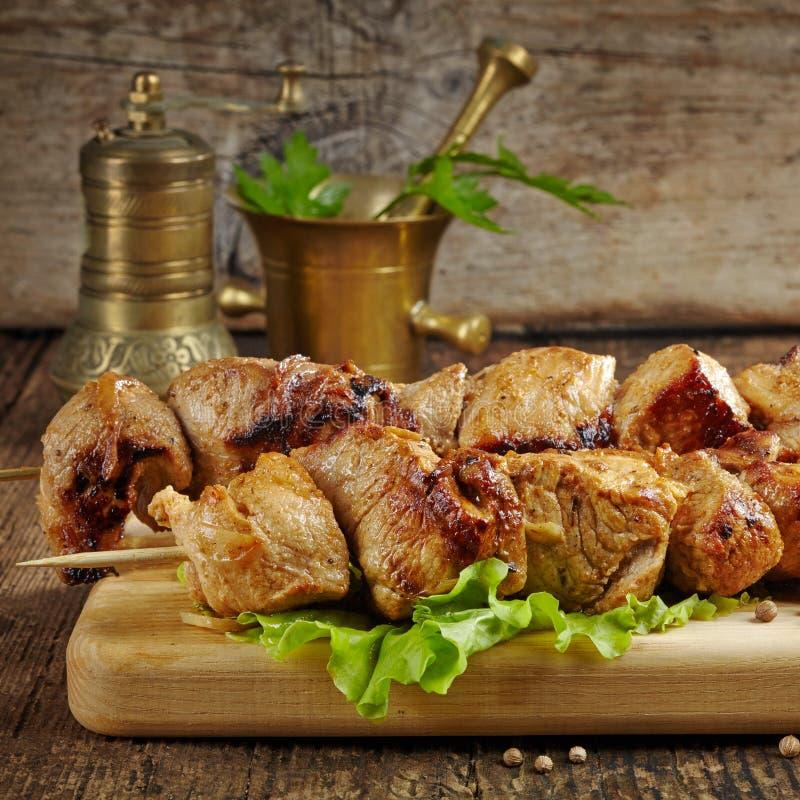 Piec na grillu wieprzowiny mięsa kebab fotografia stock