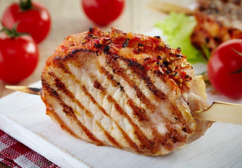 Piec na grillu wieprzowiny mięso obraz royalty free