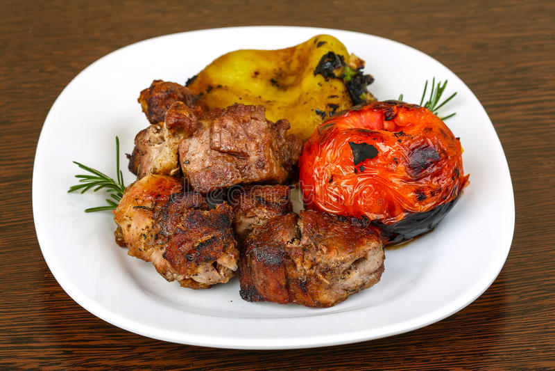 Piec na grillu wieprzowiny mięso - shaslik zdjęcia royalty free