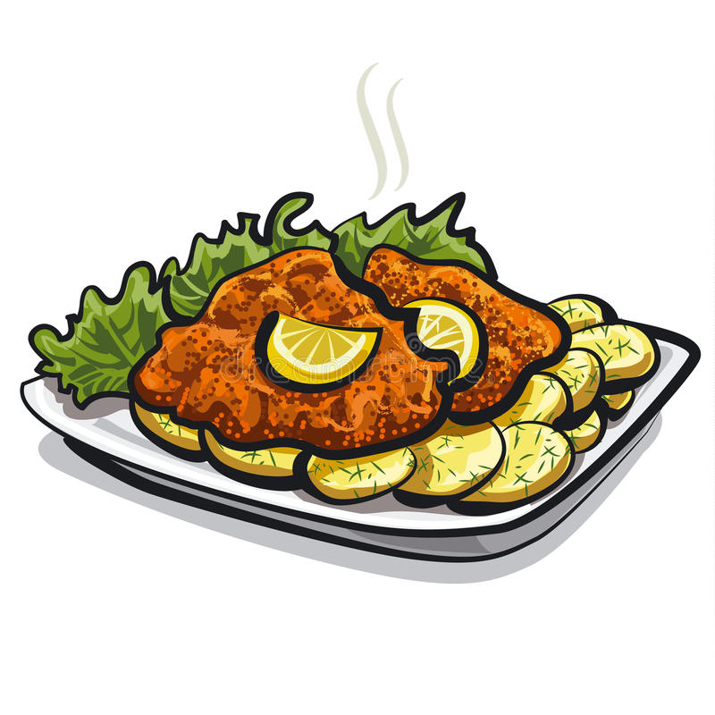 Piec schnitzel ilustracji